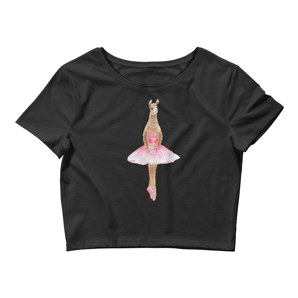 Balletllama Pink Women's Fitted Crop Tee