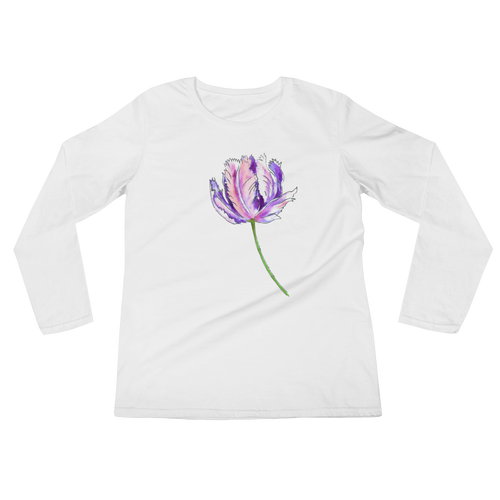 Purple Parrot Tulip Ladies Long Sleeve T-Shirt