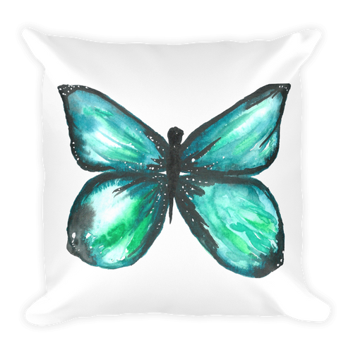 Green Butterfly Square Pillow