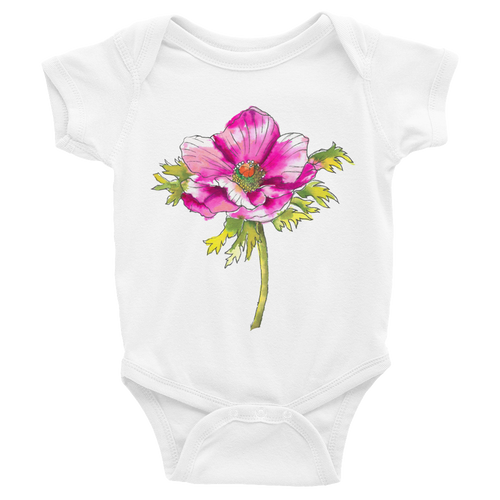 Hot Pink Anemone Infant Bodysuit