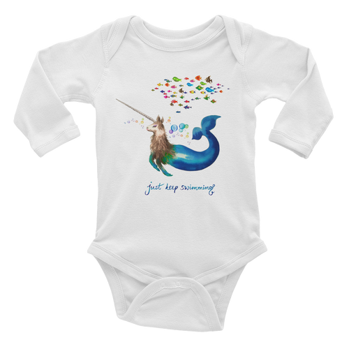 Narwhallama Just Keep Swimming Infant Long Sleeve Bodysuit