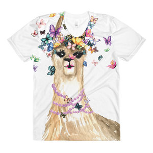 Flutterllama Full Sublimation Women's Crew Neck T-Shirt
