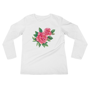Pink Peonies Ladies Long Sleeve T-Shirt