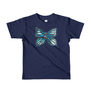 Blue Butterfly Short Sleeve Kids T-Shirt