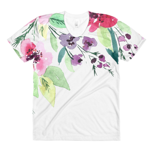 Watercolor Flowers Sublimation Women's Crew Neck T-Shirt