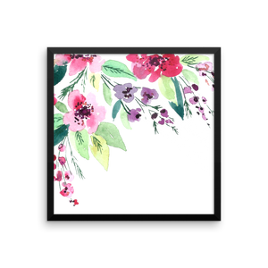Watercolor Flowers Framed Photo Paper Poster
