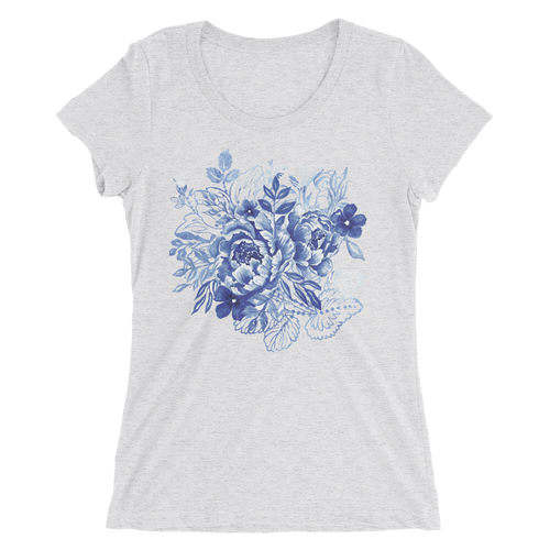 Blue Flower Layers Ladies Short Sleeve T-Shirt