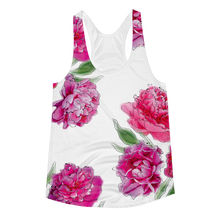 3D Peonies All Over Pattern Women's Racerback Tank