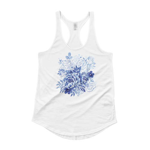 Blue Flower Layers Ladies Shirttail Tank