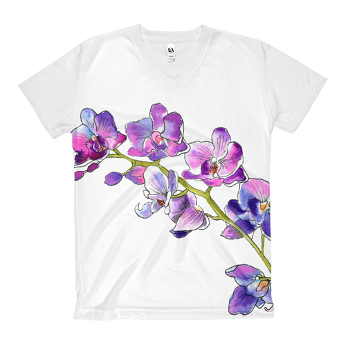 Purple Orchids Women's V-Neck T-Shirt