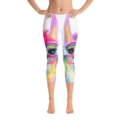 Rainbow Llamacorn Capri Leggings