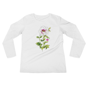 White Anemone Ladies Long Sleeve T-Shirt