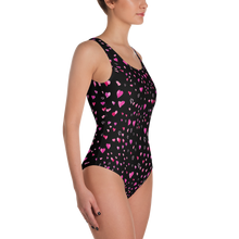 Black & Pink Hearts One-Piece Swimsuit