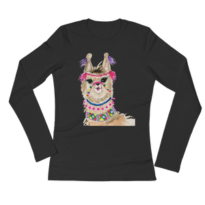Fiesta Llama Ladies Long Sleeve T-Shirt