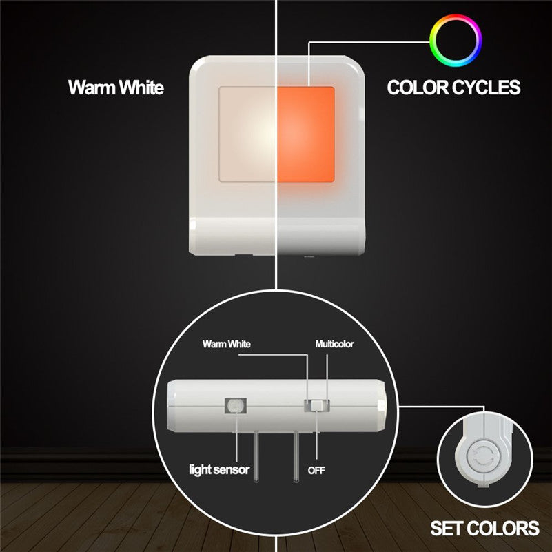 Plug in Wall LED Night Light with with Smart Dusk to Dawn Sensor