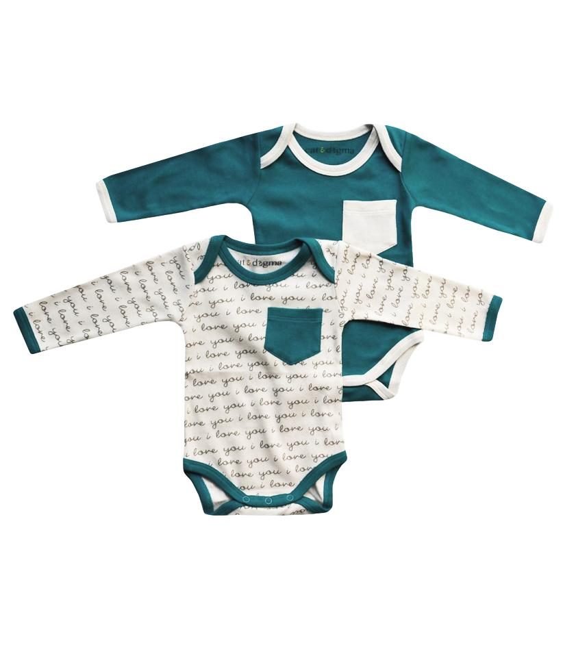 I Love You Teal Bodysuit 2PK