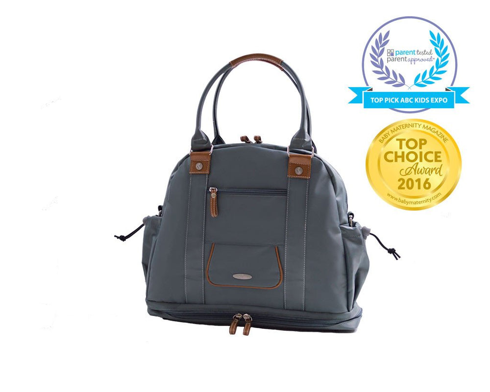top view Sail Away Satchel in Anchor Grey