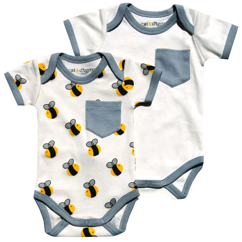 Bee/Gray Bodysuit 2PK