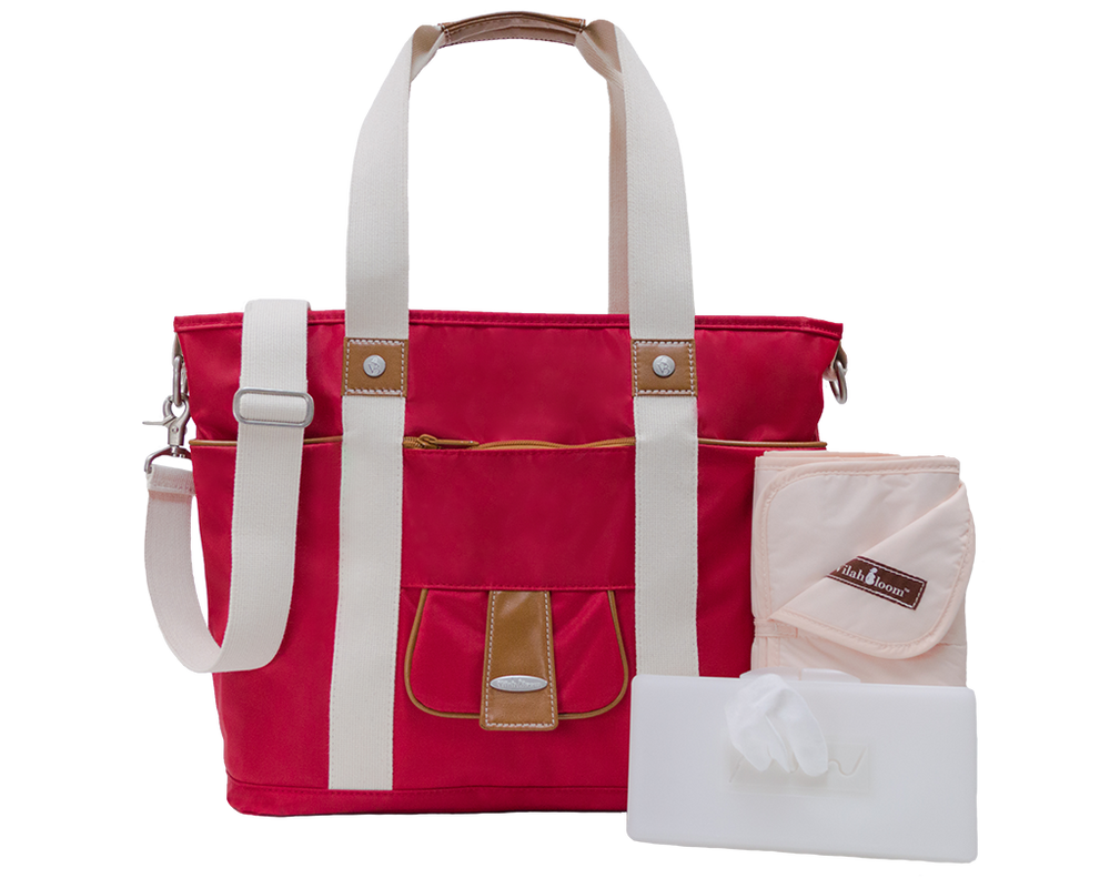 Harbor Side Tote in Vineyard Red lifestyle view