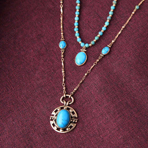 2-Layered Turquoise Stone Pendant Necklace necklace Vinty Jewelry