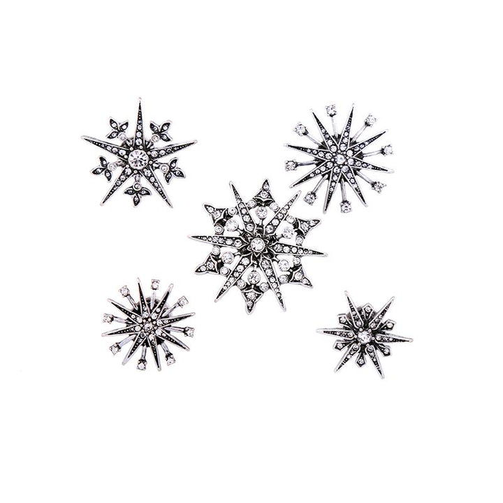 5-Piece Crystal Snowflake Brooch Set brooch Vinty Jewelry
