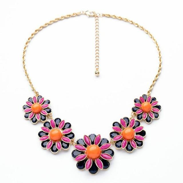 60s Inspired Enamel Flowers Statement Necklace necklace Vinty Jewelry