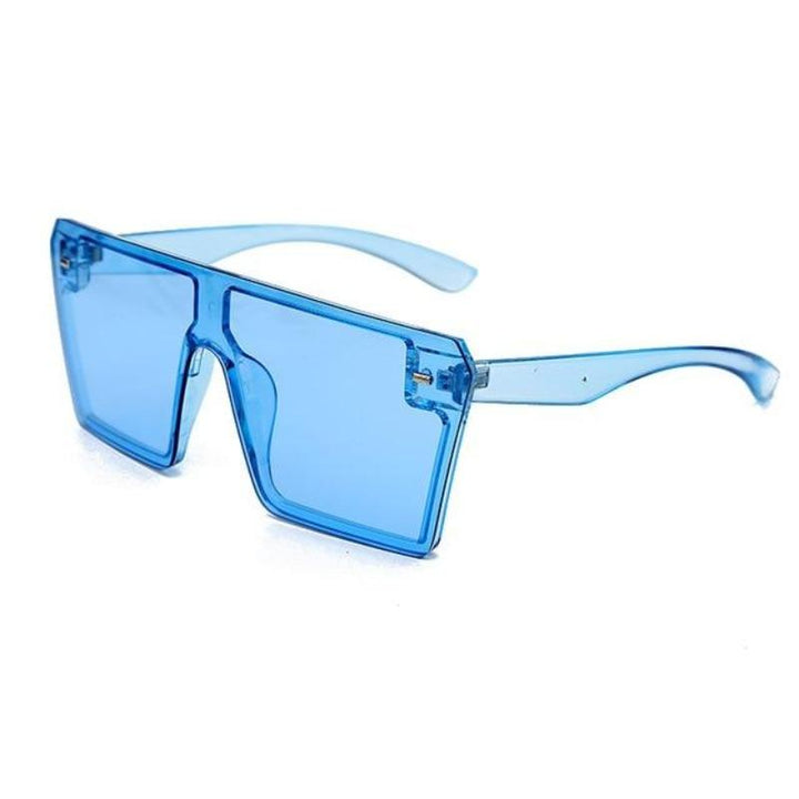 80s Candy Colored Square Shield Sunglasses sunglasses Vinty Jewelry Blue