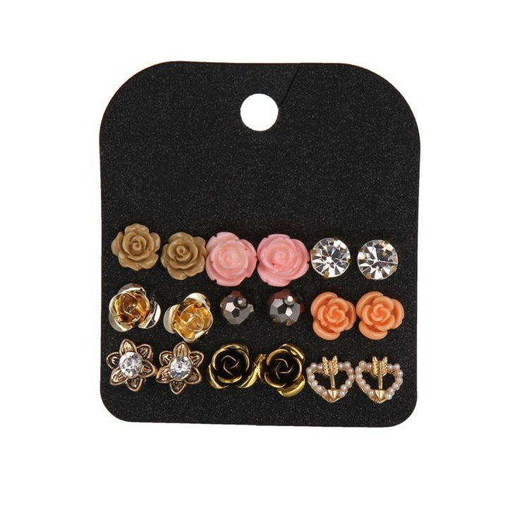9-Pair Set of Rose Stud Earrings earrings vintyjewelry