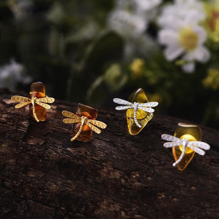 Amber Stone Dragonfly Earrings earrings Vinty Jewelry