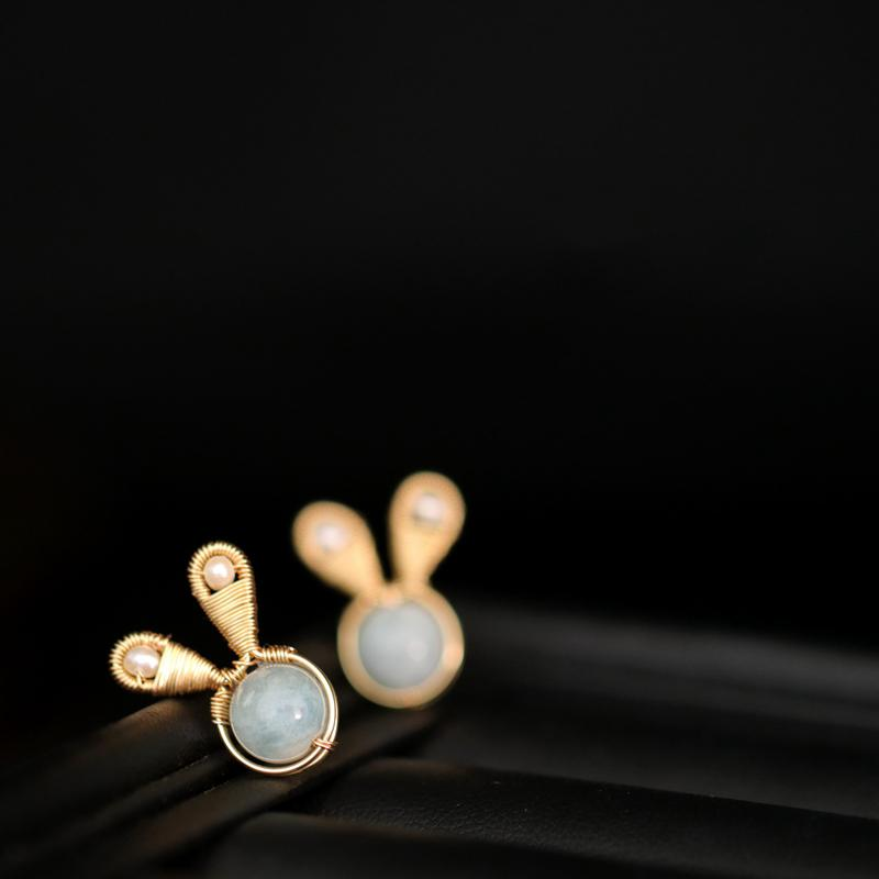 Aquamarine Bunny Earrings earrings Vinty Jewelry
