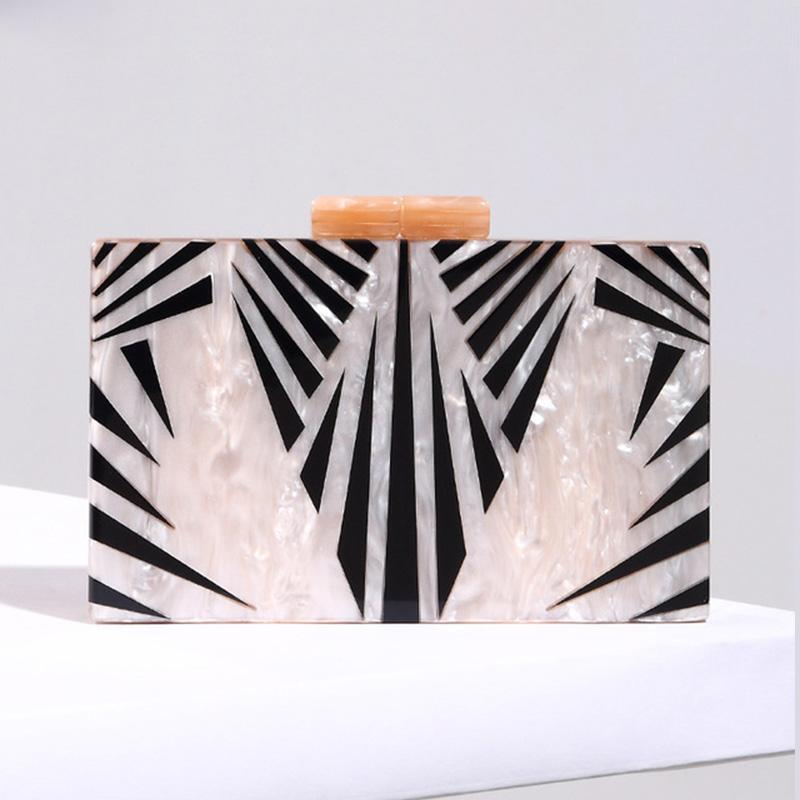 Art Deco Inspired Champagne Marble Acrylic Clutch bag Vinty Jewelry