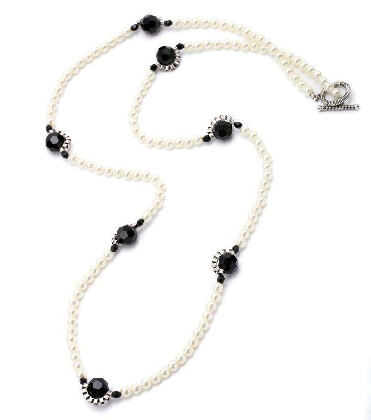 Art Deco Style Pearl Long Necklace necklace vintyjewelry