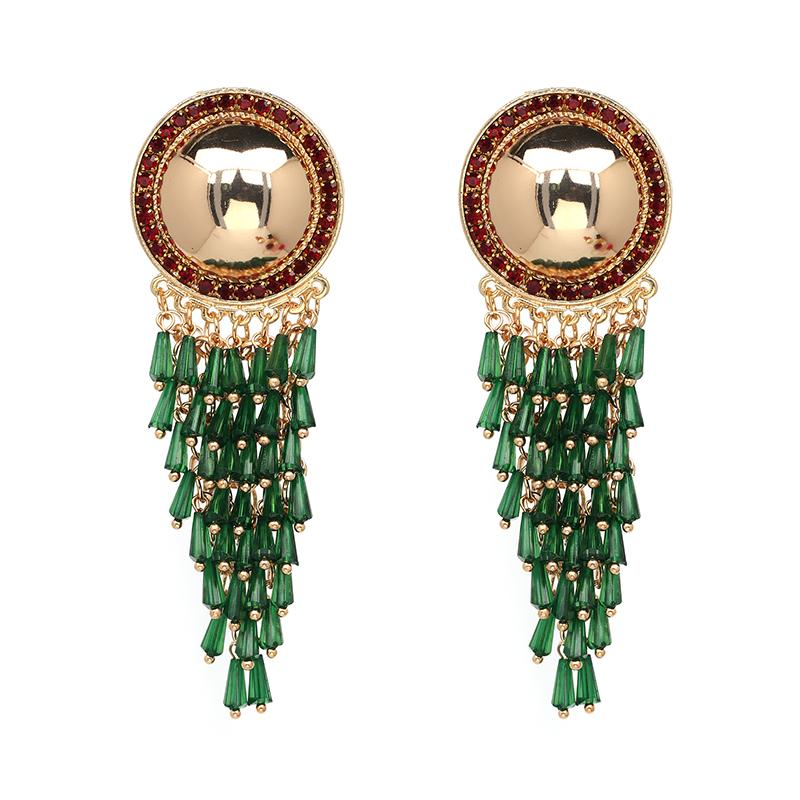 Beaded Fringe Dangle Earrings earrings vintyjewelry green