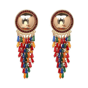Beaded Fringe Dangle Earrings earrings vintyjewelry multicolor