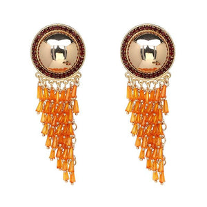 Beaded Fringe Dangle Earrings earrings vintyjewelry orange