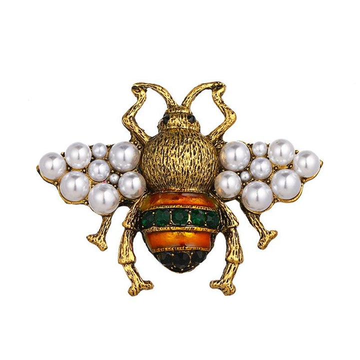 Bee Brooch With Pearl Wings brooch Vinty Jewelry