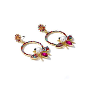 Bee Hoop Earrings With Rhinestones earrings Vinty Jewelry