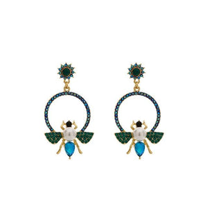 Bee Hoop Earrings With Rhinestones earrings Vinty Jewelry Blue