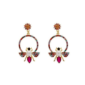 Bee Hoop Earrings With Rhinestones earrings Vinty Jewelry Red