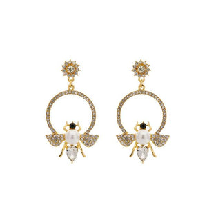 Bee Hoop Earrings With Rhinestones earrings Vinty Jewelry White
