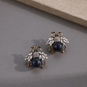 Bees With Rhinestone Wings Stud Earrings earrings Vinty Jewelry