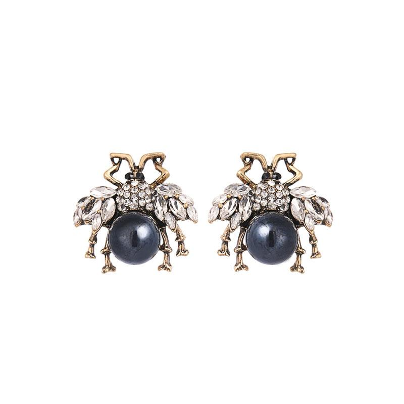 Bees With Rhinestone Wings Stud Earrings earrings Vinty Jewelry Blue