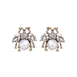 Bees With Rhinestone Wings Stud Earrings earrings Vinty Jewelry White