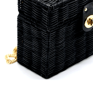 Betty Black Rattan Box Handbag bag Vinty Jewelry