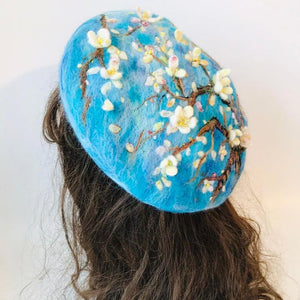 Blossoming Almond Tree Wool Beret hat Vinty Jewelry
