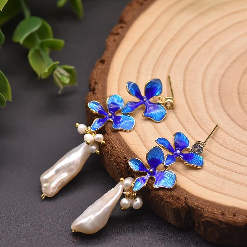 Blue Star Flower Pearl Dangle Earrings Vinty Jewelry