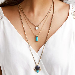 Bohemian Layered Stone Pendant Necklace Set necklace vintyjewelry