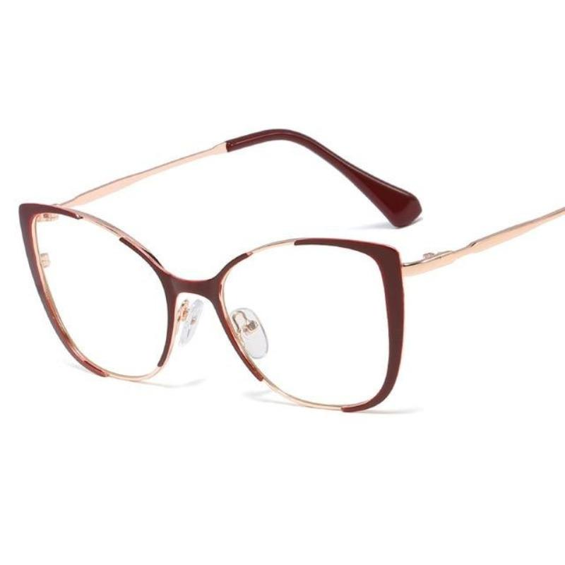 Cat Eye Glasses With Clear Lenses Vinty Jewelry Chocolate