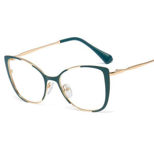 Cat Eye Glasses With Clear Lenses Vinty Jewelry Green
