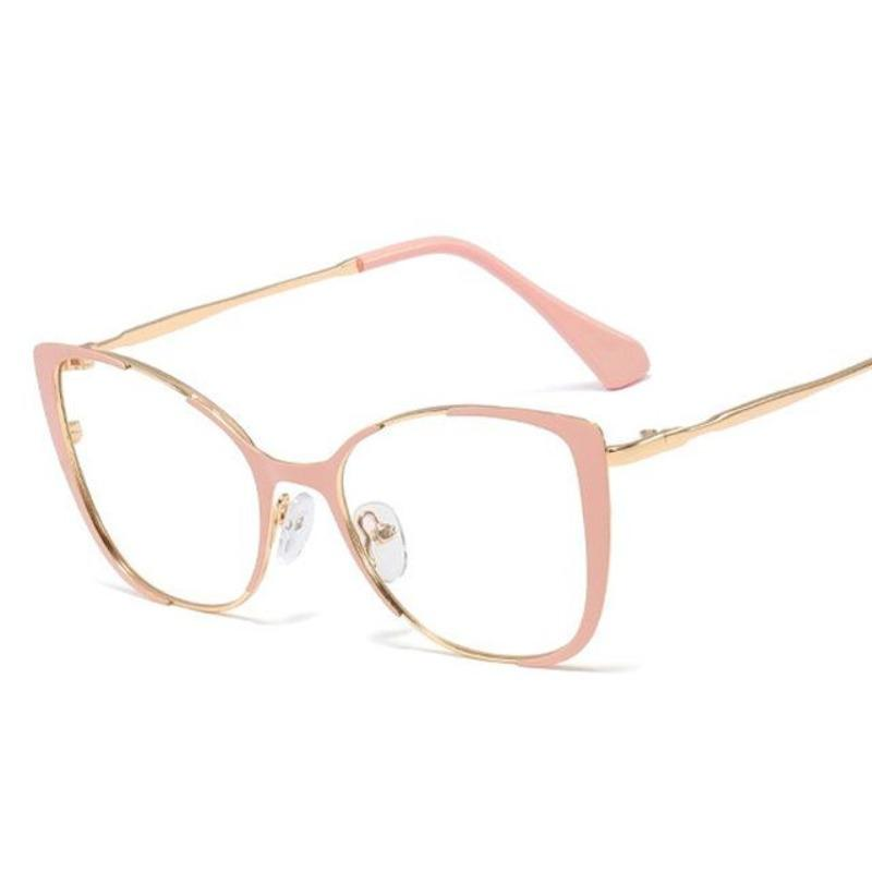 Cat Eye Glasses With Clear Lenses Vinty Jewelry Pink